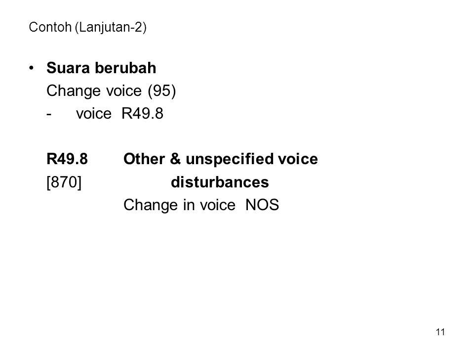 R49.8 Other & unspecified voice [870] disturbances Change in voice NOS